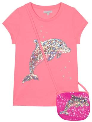Bluezoo BLUE ZOO 'Girls' Pink Sequinned Dolphin T-Shirt And Bag Set