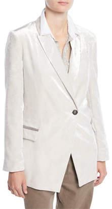 Brunello Cucinelli One-Button Velvet Blazer w/ Monili Pockets