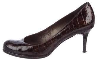 Stuart Weitzman Embossed Patent Leather Round-Toe Pumps