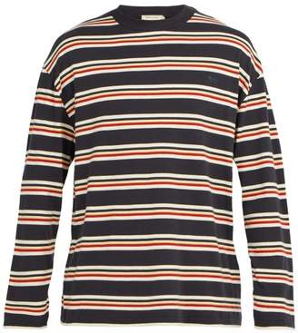 MAISON KITSUNÉ Fox Applique Striped Cotton T Shirt - Mens - Green Multi