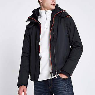 River Island Superdry navy triple zip funnel neck jacket