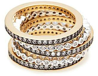 Kenneth Jay Lane CZ by Cubic zirconia scalloped 5-ring set