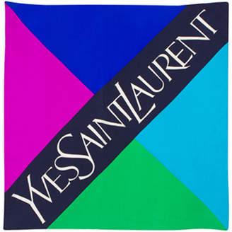 Saint Laurent Pariscarves Color Logo Block Silk Square