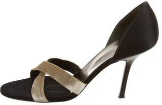 Vera Wang Round-Toe Satin Sandals $55 thestylecure.com