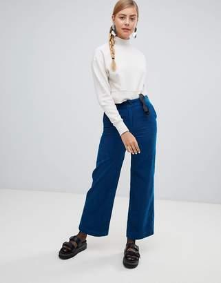 Monki wide leg cord pants in blue