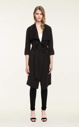 Soia & Kyo ORNELLA drapy knee-length coat with cascade draped collar