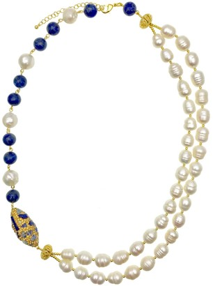 Lapis Farra Freshwater Pearls With Lazuli & Rhinestone Double Strands Necklace