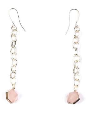 Tiana Jewel - Rose Quartz Capsule Chain Earrings Silver