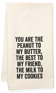 """Milk & Cookies"" Tea Towel, Black"