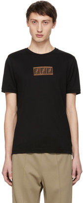Fendi Black Suede Forever Patch T-Shirt