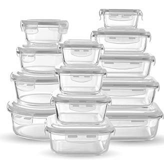 Glass Food Storage Containers [13-piece set] - Meal Prep Leakproof Container With Airtight Snap On Lids - Microwave
