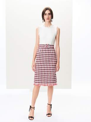 Oscar de la Renta Houndstooth Tweed Pencil Dress