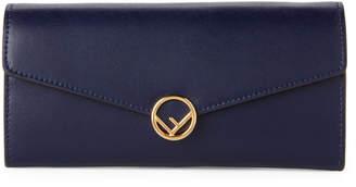 Fendi Blueberry Leather Flap Chain Wallet
