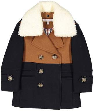 Isaac Mizrahi Colorblock Double-Breasted Faux Shearling Collar Coat (Toddler, Little Boys, & Big Boys)