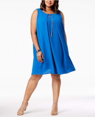 NY Collection Plus Size Grommet Necklace Dress