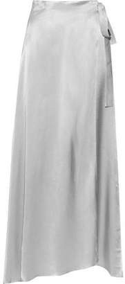 Les Héroïnes The Emmeline Metallic Satin Maxi Wrap Skirt