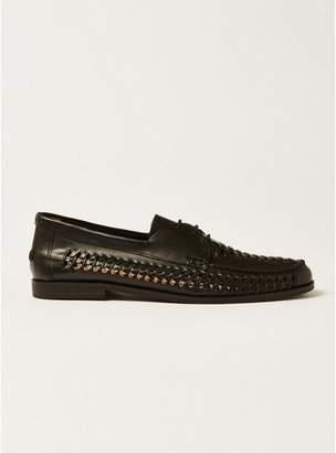 Topman Mens Black Leather Weave Mantis Lace Shoes