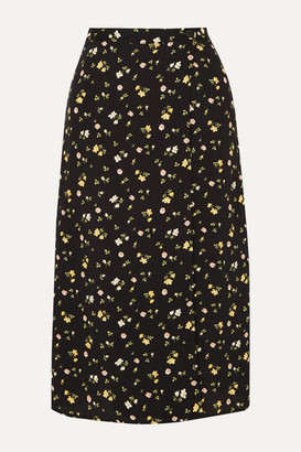 Reformation Betty Floral-print Crepe De Chine Wrap Skirt - Black