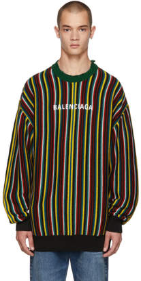 Balenciaga Multicolor Striped Logo Sweater