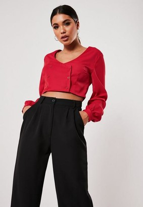 Missguided Red Double Breasted Cropped Blouse