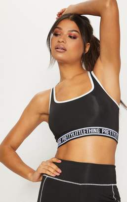 PrettyLittleThing Black Contrast Sports Crop Top
