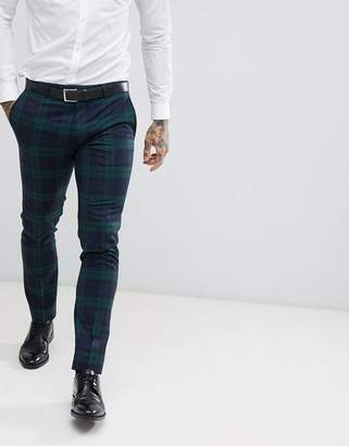 Twisted Tailor super skinny suit PANTS in green check