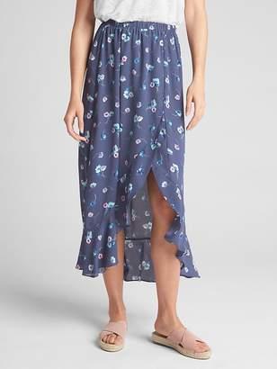 Gap Floral Ruffle Wrap Midi Skirt