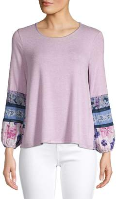 Style&Co. Style & Co. Petite Printed Balloon-Sleeve Top