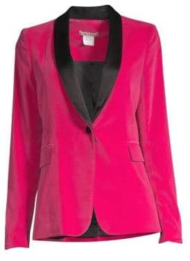 Alice + Olivia Macey Contrast Shawl Collar Fitted Velvet Blazer