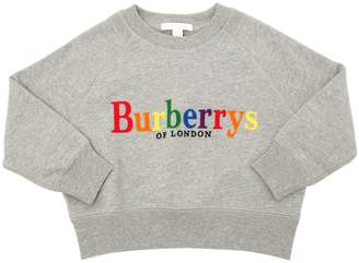 Burberry Flocked Logo Cotton Sweatshirt