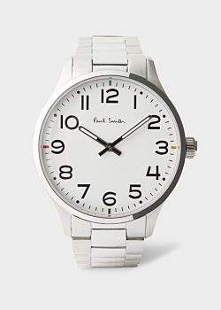 Paul Smith Men's White And Stainless Steel 'Tempo' Watch