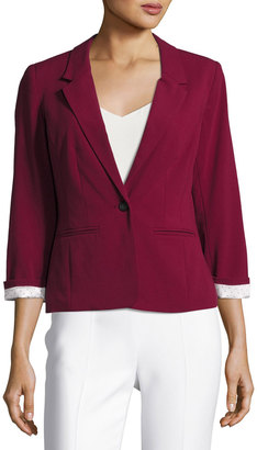 kensie 3/4-Sleeve Knit Jacket, Purple $65 thestylecure.com