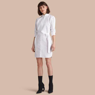 Burberry Burberry Tie-waist Wing Collar Cotton Poplin Shirt Dress