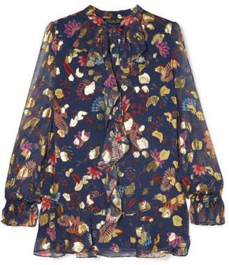 Rachel Zoe Lux Ruffled Floral-print Fil Coupé Chiffon Blouse - Midnight blue