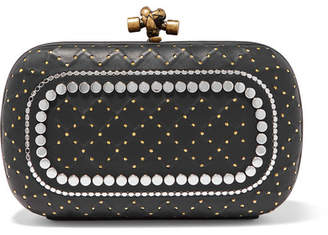Bottega Veneta Knot Embellished Leather Clutch - Black