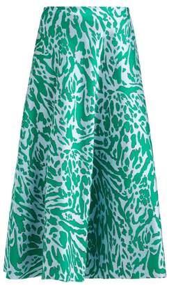 Vika Gazinskaya Leopard Jacquard Midi Skirt - Womens - Green Multi