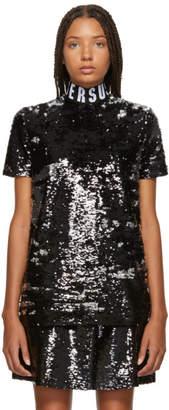 Versus Black Sequinned Elastic Collar T-Shirt