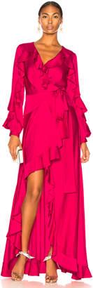 PatBO Ruffle Sleeve Maxi Wrap Dress in Hot Pink | FWRD
