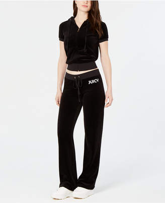Juicy Couture Cropped Velour Zip-Front Hoodie