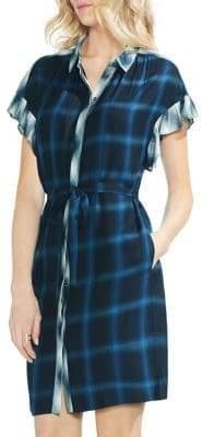Vince Camuto Sapphire Bloom Plaid Tartan Shirtdress