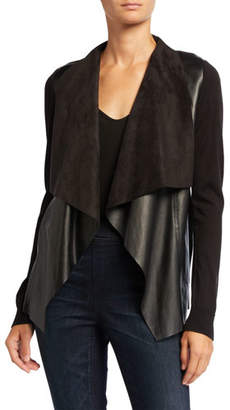 MICHAEL Michael Kors Draped Faux Leather Long-Sleeve Sweater