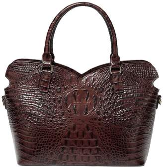 Vicenzo Leather Aya Croc Embossed Leather Tote Bag