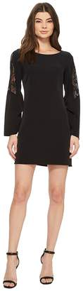 Laundry by Shelli Segal Long Sleeve Crepe Dress with Lace Sleeve Women's Dress
