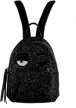 Chiara Ferragni Black Glitter Backpack