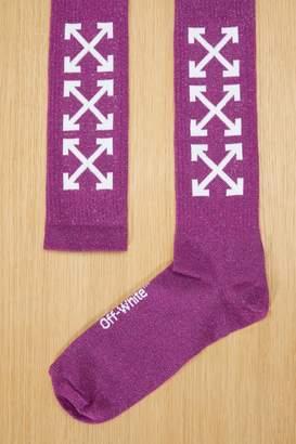 Off-White Off White Purple logo socks