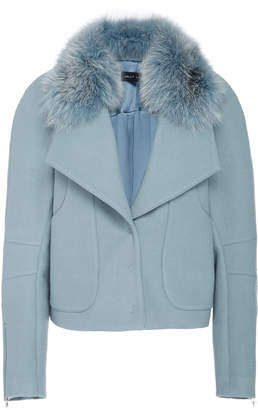 Sally LaPointe Fur Trimmed Cady Bomber Jacket