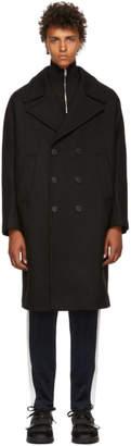 Neil Barrett Black Wool Cappotti Kimono Coat