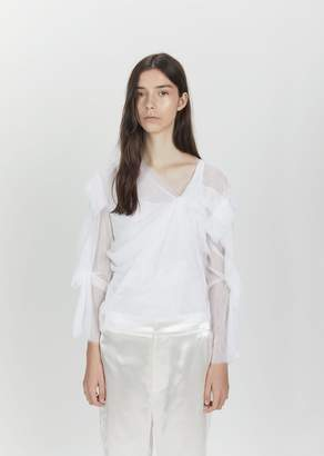 Phoebe English Twisted Draped Soft Tulle Top White