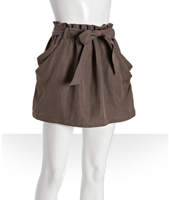 Leifsdottir fig brown silk-linen paper bag waist skirt