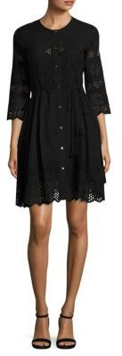 Theory Kalsingas Cotton Eyelet Shirtdress $475 thestylecure.com